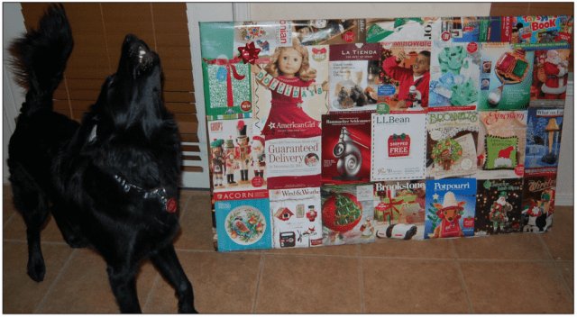 Even Sirius Black approves of the wrapping job with repurposed catalog covers. All images by Lisa Kay Tate