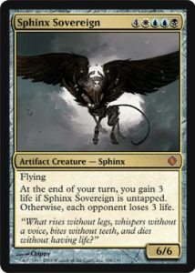 Sphinx Sovereign, a Mythic Rare card from the Shards of Alara set.  Image: Wizards of the Coast