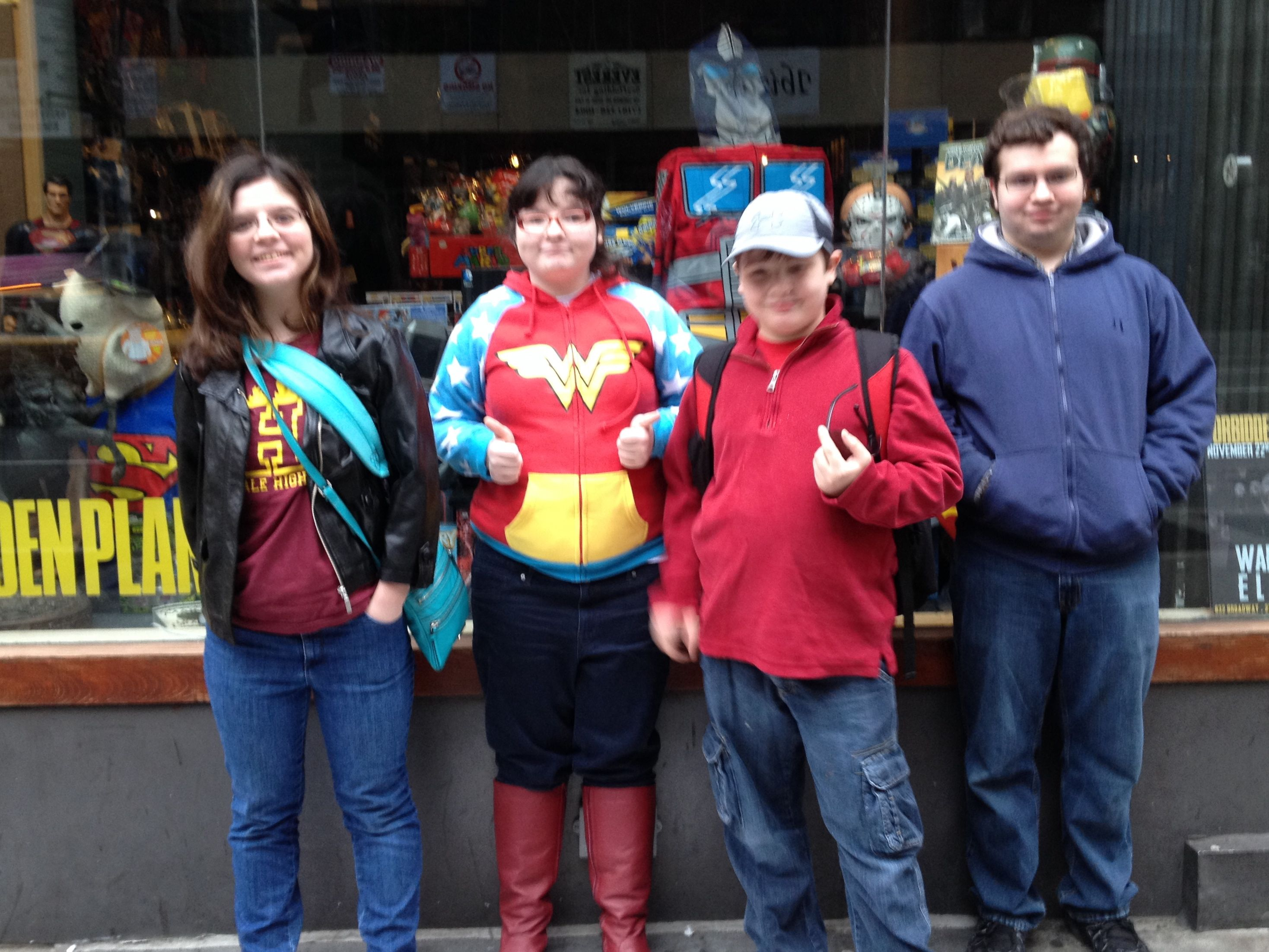 The geek crew of Corrina Lawson outside Forbidden Planet in New York City in November, just before filming the NickMom segment.