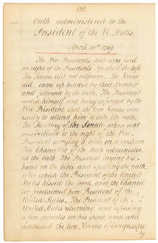 George Washington's Oath of Office, National Archives. (See more than page one at http://todaysdocument.tumblr.com/post/84322163697/congressarchives-225th-anniversary-of-the-first)