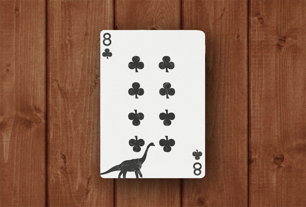 Royal Dinosaur Playing Cards - eight of clubs