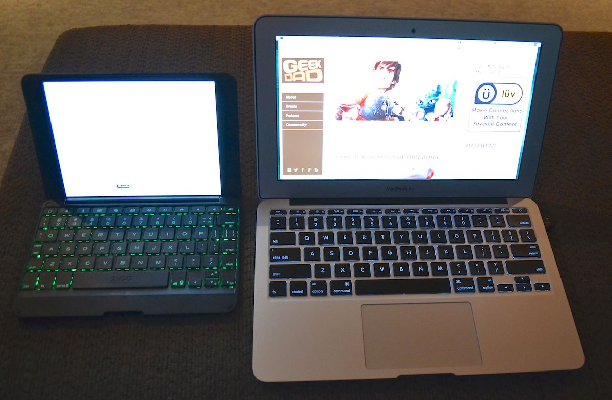 iPad Mini in ZAGG Folio compared to 11-inch MBA