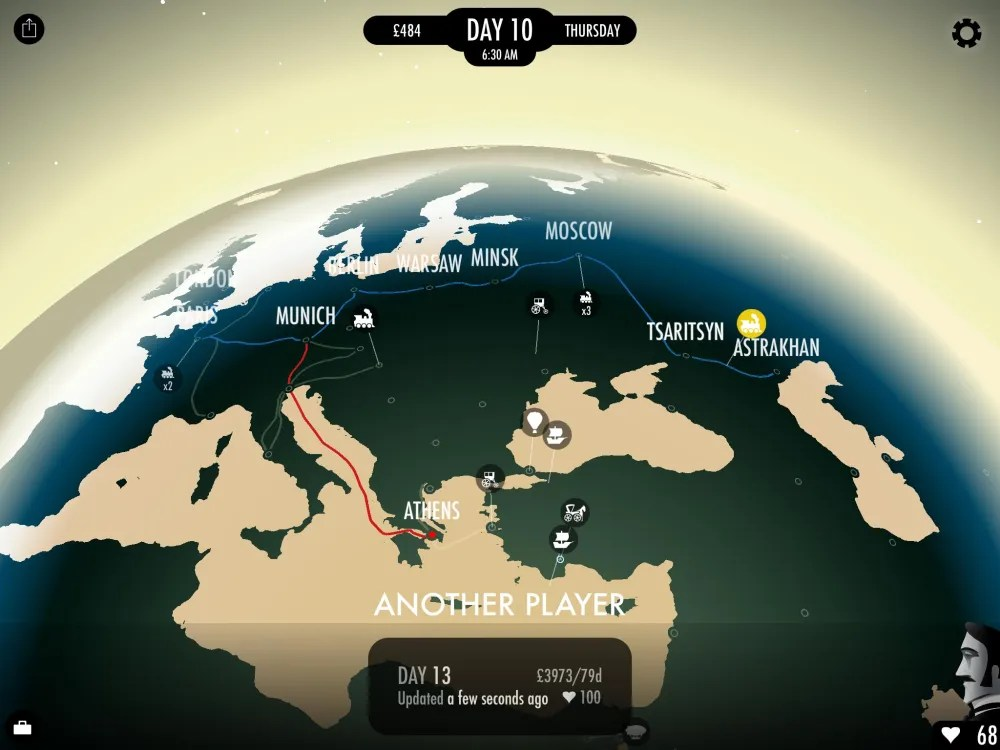 Plan your route by looking at the globe. Image: Inkle