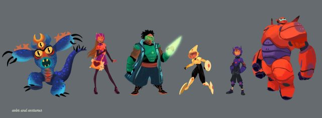 """The Big Hero 6 team is ready for action! Visual development artist Lorelay Bove created character lineup concept art to showcase the """"Big Hero 6"""" team. Pictured (L-R): Fred, Honey Lemon, Wasabi, Go Go Tomago, Hiro Hamada & Baymax. ©2014 Disney. All Rights Reserved."""