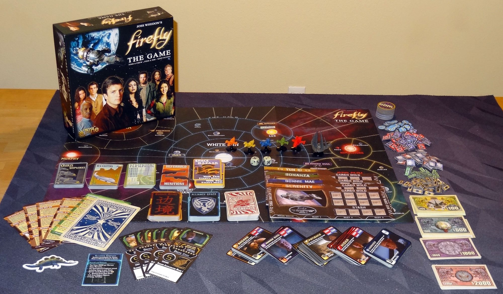 Firefly: The Board Game e seus componentes