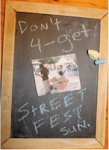 Favorite walking spots include farmers' markets and street festivals.