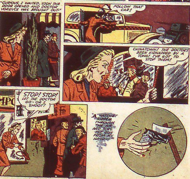 Kinda racist, but mostly an equal. {Image taken from Flash Comics #22 (October 1941) , DC Comics]