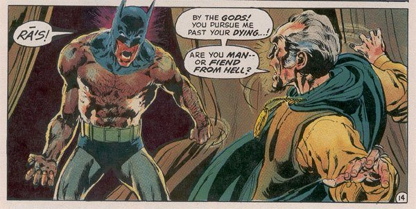 Denny O'Neil & Neal Adams do the hairy-chested Bat-God. Ollie doesn't belong in here. Image via DC Comics