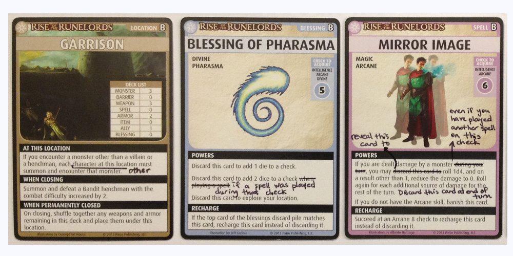 PACG Cards with hand written errata.