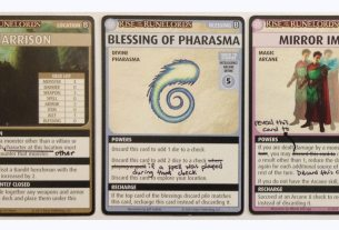 PACG Cards with hand written errata.