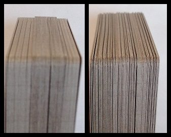 Shows card height differences between PACG print runs.