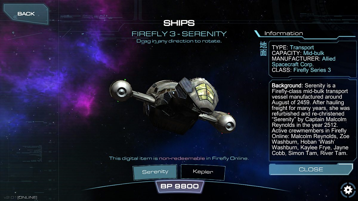 Firefly is a beautiful ship.