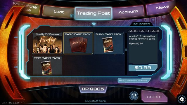 Buy card packs at the Trading Post.