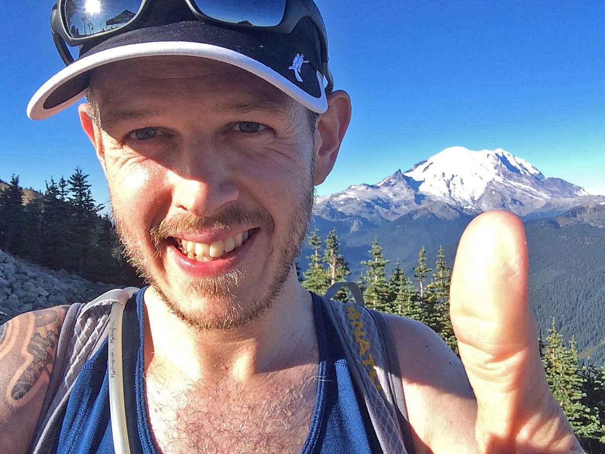 Me at the high point of the Crystal Mountain course with Mt. Rainier in the background.