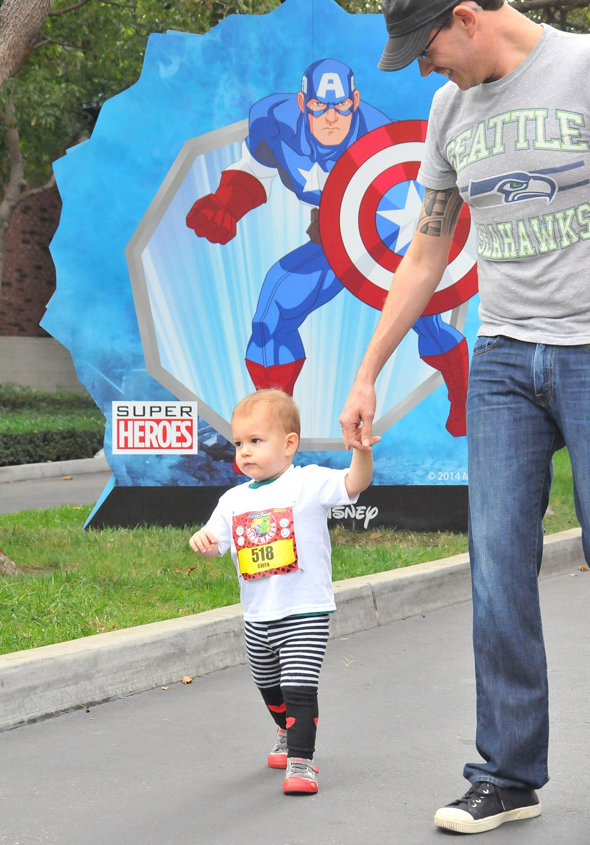 My son, Owen, doing his first race, the Disney Avengers Kids' Race.