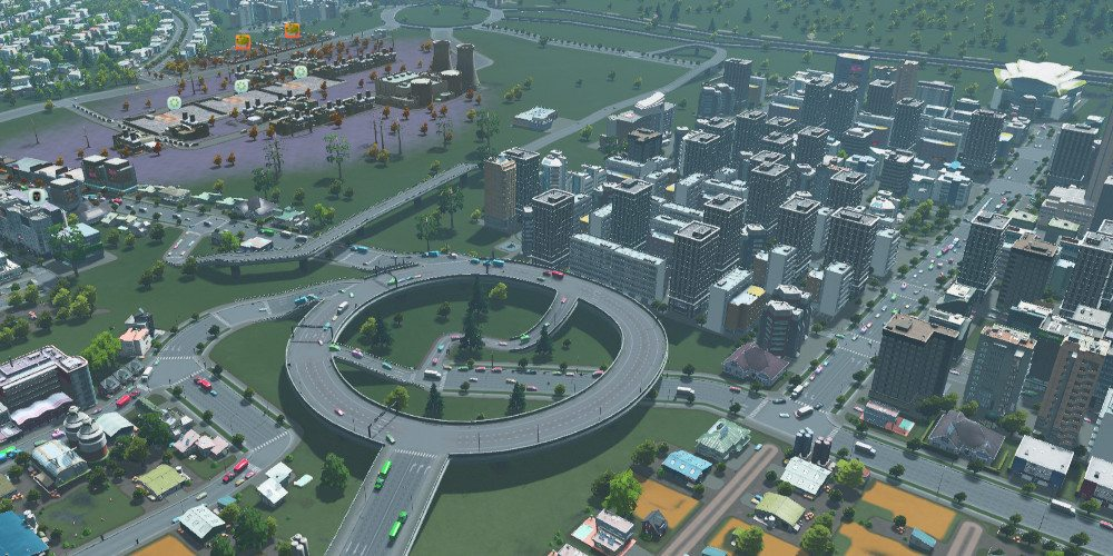 An elevated roundabout connects to several nearby roads.