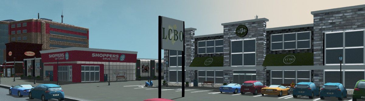A screenshot from 'Skylines' showing a LCBO location next to a Shoppers Drug Mart and a Tim Hortons.