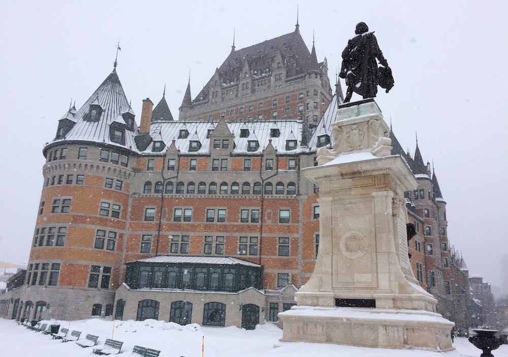 Chateau Frontenac as snow falls