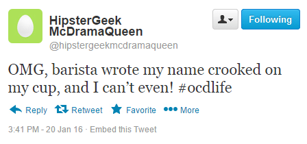 Fake Twitter OCD Message
