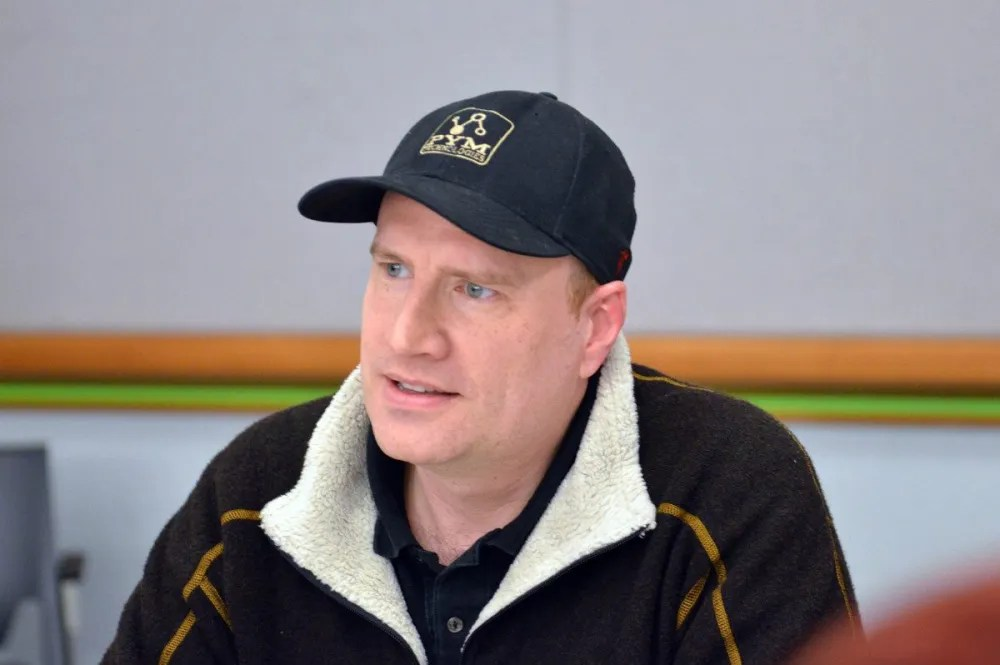 """Kevin Feige (note the """"Pym Technologies"""" hat) - Photo:  Jana Seitzer / MerlotMommy.com"""
