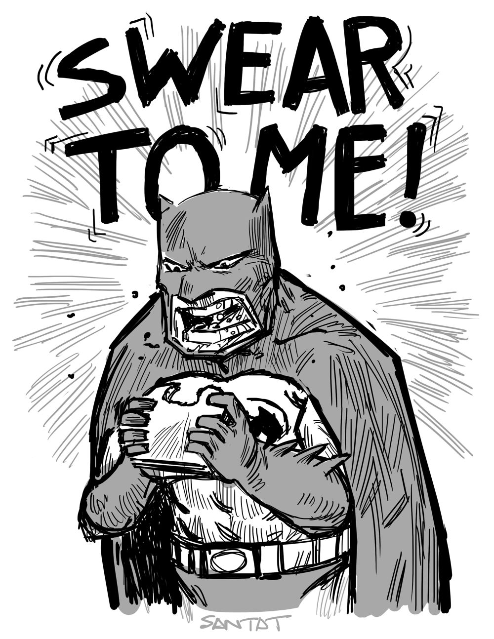 Batman eating a sandwich by Dan Santat
