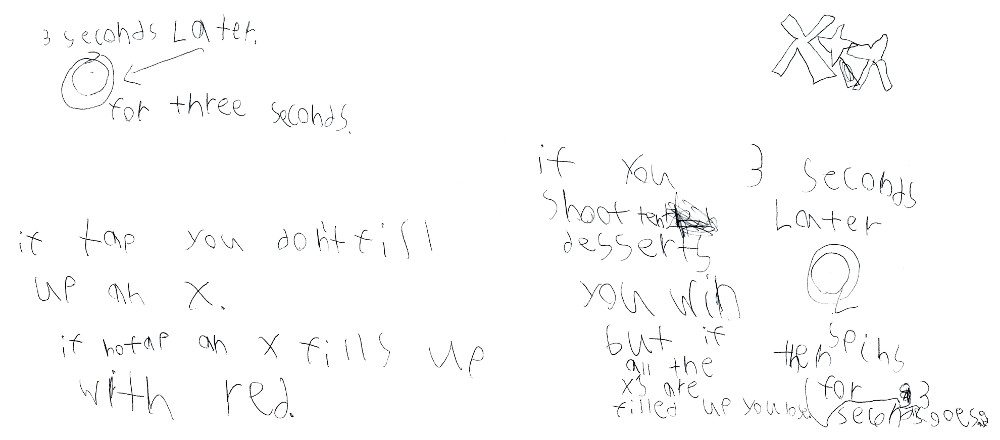 A child's writing giving instructions on how a game should be played with tapping desserts before they rotate 360 degrees.