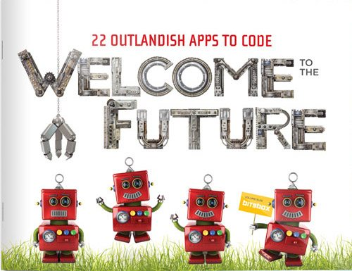 """Cover of the Bitsbox book for delivery #2 featuring the words """"Welcome to the Future"""" and four red robots."""