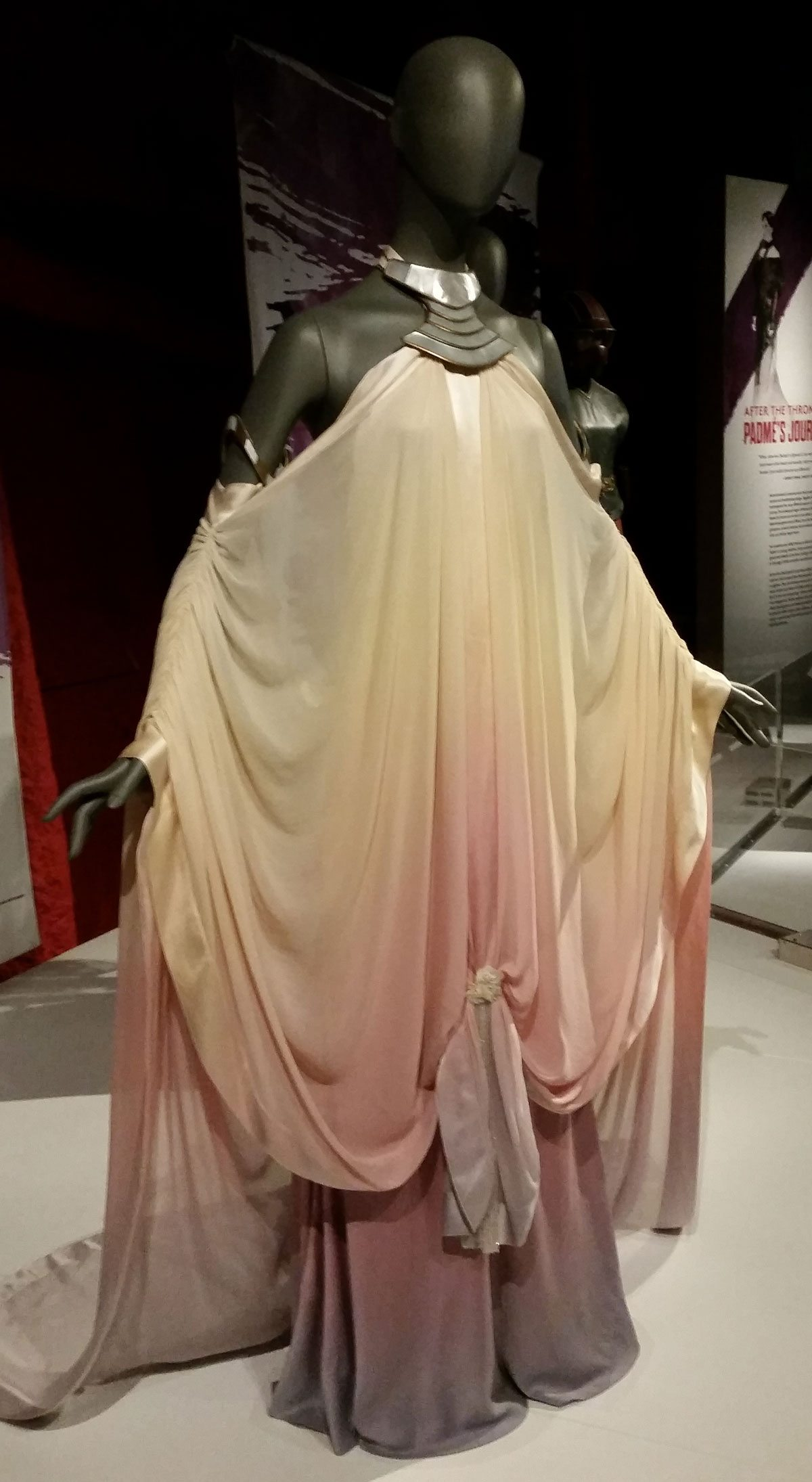 The dress worn by Amidala for the arrival at the island in 'Episode II'. Photo by Rob Huddleston.