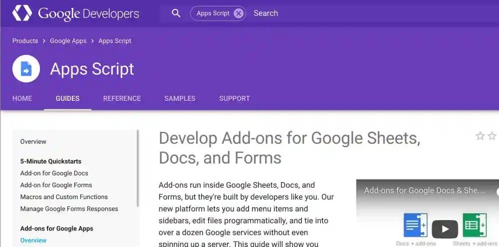 Screen shot of Google Docs Add-On page.