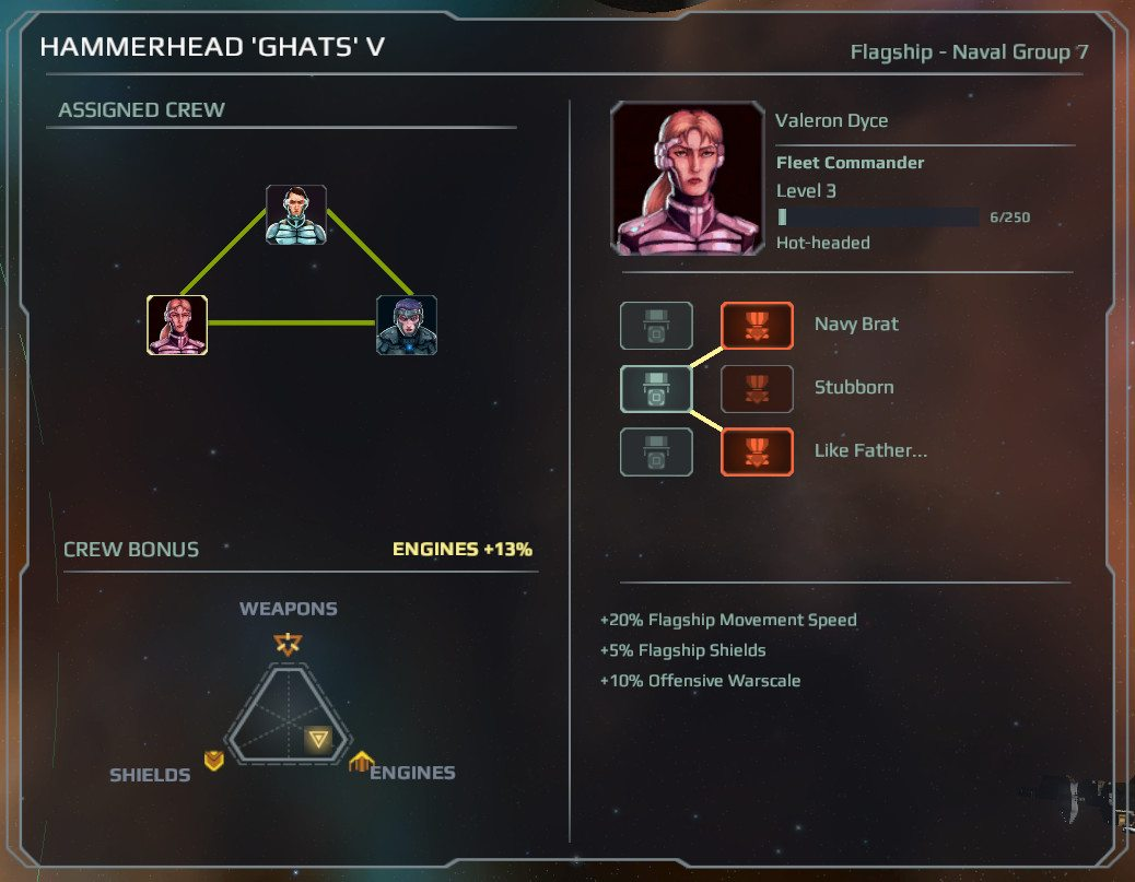 Three crew member portraits in a triangle show their interpersonal relationships. Another window shows the bonus to the flagship as engines +13%.