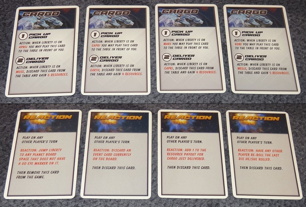 Space Movers cargo and reaction cards