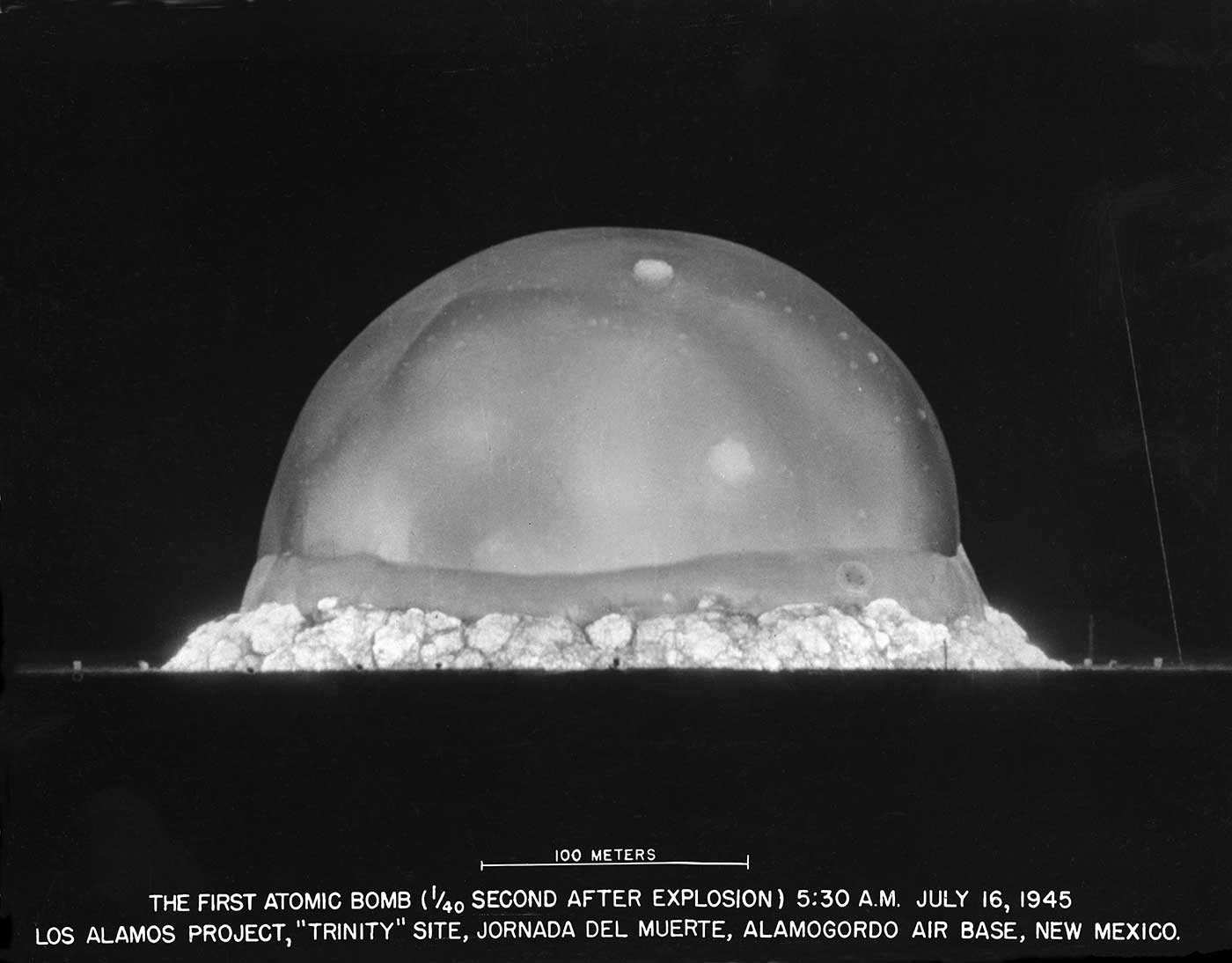 Trinity Mushroom Cloud, 1/40 of a second after detonation. Image courtesy trinityremembered.com