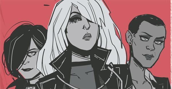 Black Canary & bandmates, art by Annie Wu, copyright DC Comics