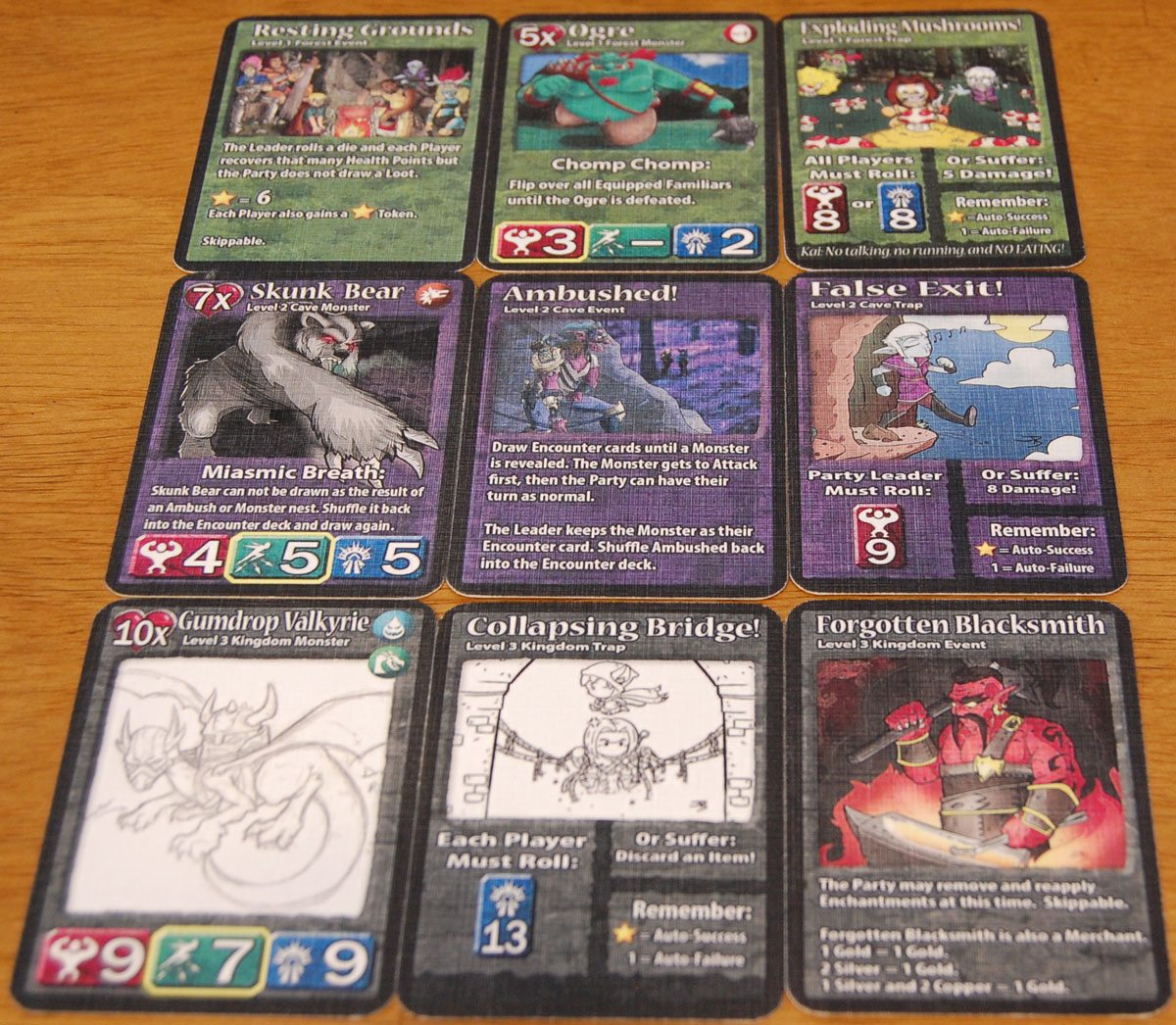Some of the Random Encounters cards from the prototype. Artwork subject to change. Image by Rob Huddleston.