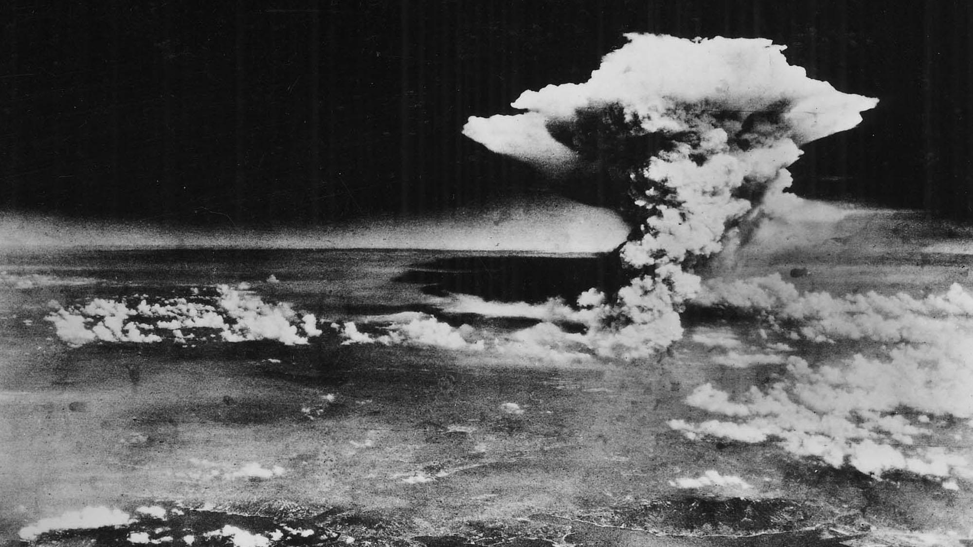 The mushroom cloud over Hiroshima. Image courtesy wikimedia.org,