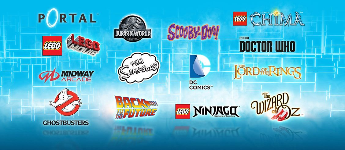 The full list of Adventure Worlds: Portal, Jurassic World, Scooby Doo, LEGO Chima, The LEGO Movie, Doctor Who, Midway Arcade, The Simpsons, DC Comics, Lord of the Rings, Ghostbusters, Back to the Future, LEGO Ninjago, The Wizard of Oz