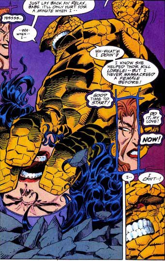 This is a far cry from the Thing in the comics, who only almost kills people while under mind control. Copyright Marvel Comics.