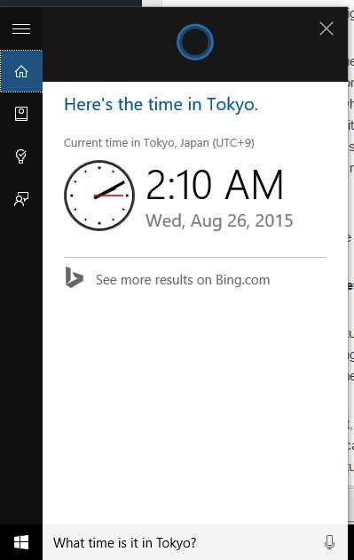 Tokyo time, Cortana-style