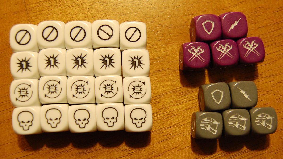 'Halo: Fleet Battles' custom dice. Photo by Rob Huddleston.