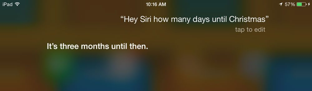 Siri's answer to the Christmas question.