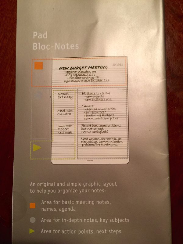 Moleskin Pro Collection Note Page Layout (Photo by Skip Owens)
