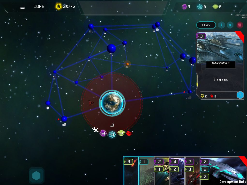 The interface for Gala Collider, showing 6 partial cards in the player's hand at the bottom right corner and the 3d map in the center.