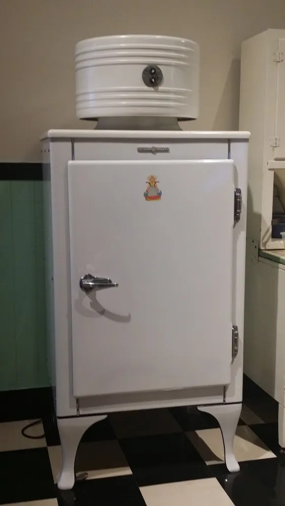 """An early General Electric """"Monitor Top"""" refrigerator http://www.antiqueappliances.com/monitor_top_refrigerators.htm Collection of the http://www.thehenryford.org/museum/index.aspx"""