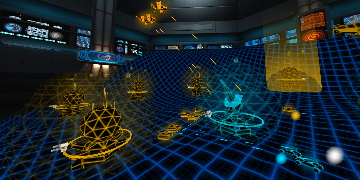 A virtual war room, with a polygon battlefield covered in brightly colored weapons of war.