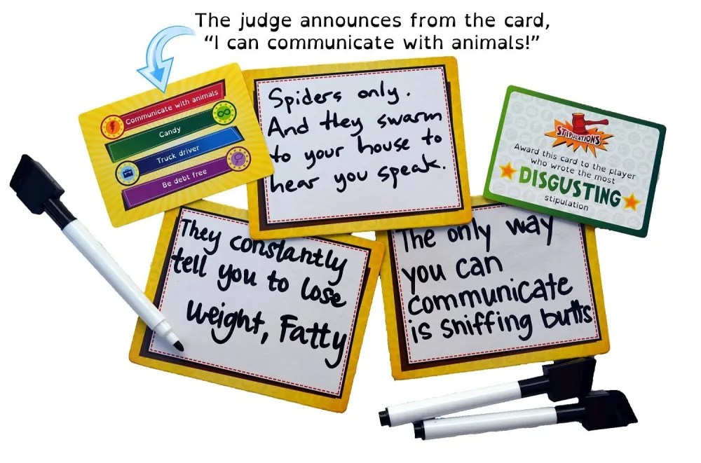 Game cards and answers for Stipulations