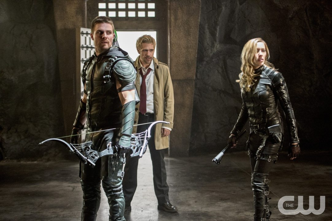 "Arrow -- ""Haunted"" -- Image AR404B_0241b.jpg -- Pictured (L-R): Stephen Amell as The Arrow, Matt Ryan as Constantine and Katie Cassidy as Black Canary -- Photo: Cate Cameron/ The CW -- �© 2015 The CW Network, LLC. All Rights Reserved."
