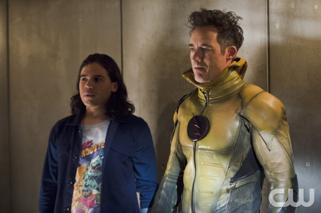 "The Flash -- ""Gorilla Warfare"" -- Image FLA207B_0178b.jpg -- Pictured (L-R): Carlos Valdes as Cisco Ramon and Tom Cavanagh as Harrison Wells -- Photo: Cate Cameron/The CW -- �© 2015 The CW Network, LLC. All rights reserved."