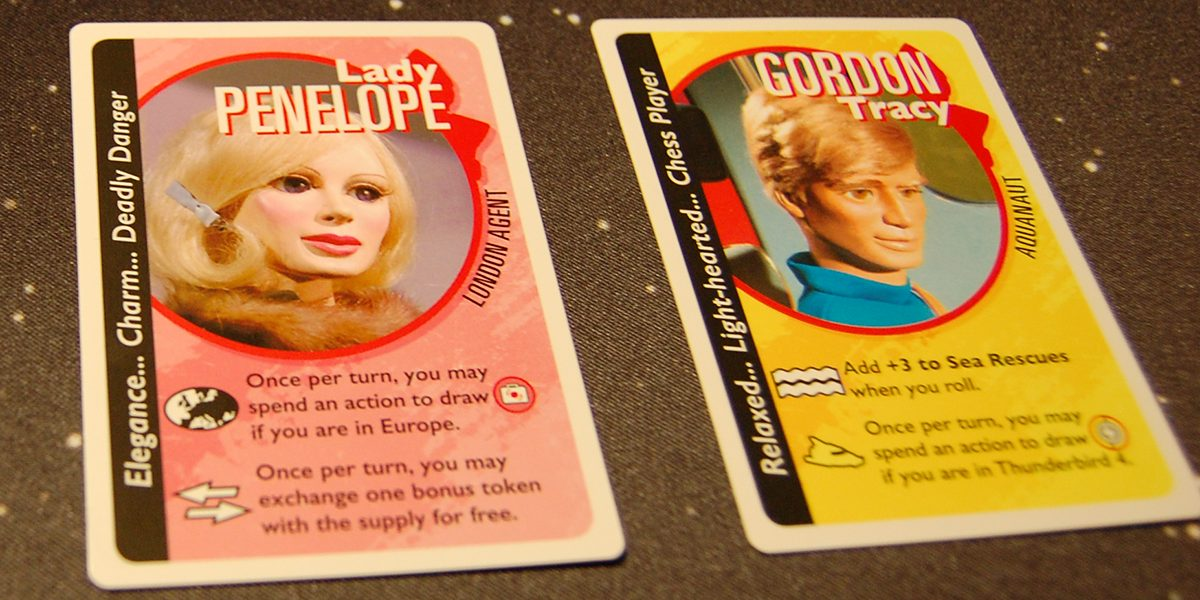 The character cards. You can play as any of the Tracy brothers or as Lady Penelope. Photo by Rob Huddleston.