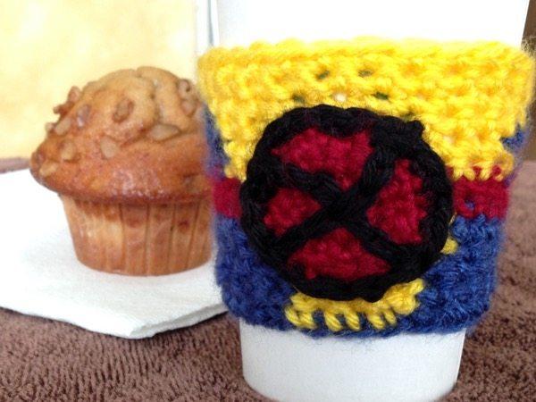 xmen x-men coffee cozy sleeve crochet