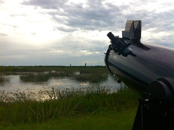 "My 10"" Orion Dobsonian peering sadly into cloudy skies - Photo By Skip Owens"